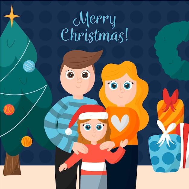 Ручной обращается рождественские семейные сцены Бесплатные векторы