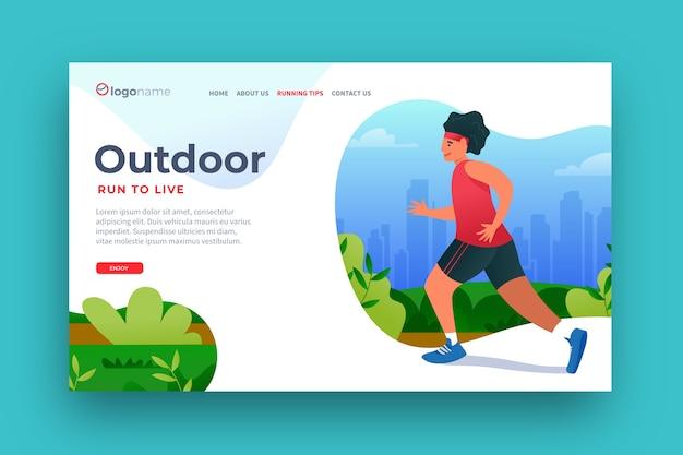 Плоский дизайн шаблона спортивной целевой страницы на открытом воздухе Бесплатные векторы