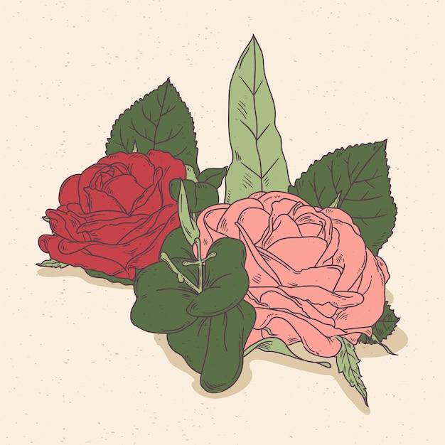 美しいビンテージ花の花束 無料ベクター