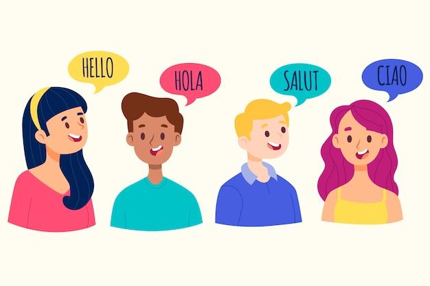 異なる言語のコレクションで話している若者 無料ベクター