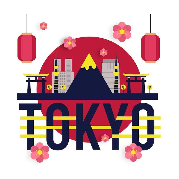 Токио город надпись Бесплатные векторы