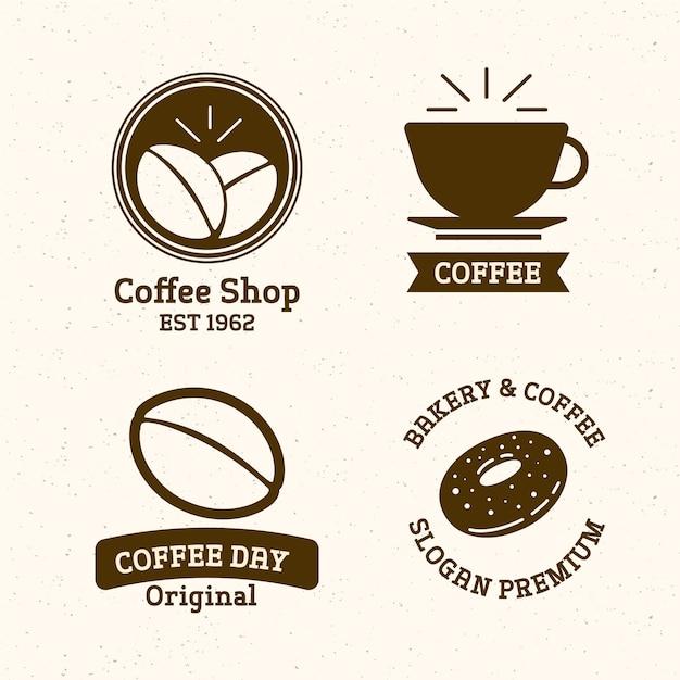 レトロなコーヒーショップのロゴを設定 無料ベクター
