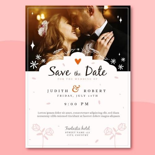 写真付き結婚式招待状テンプレート 無料ベクター
