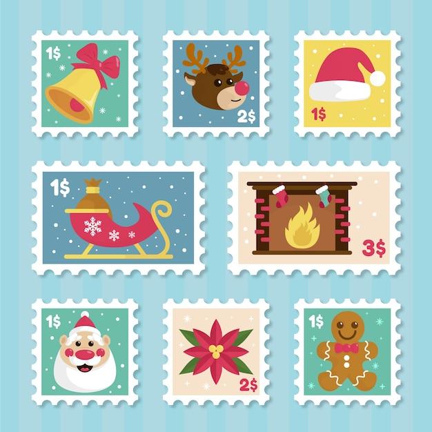 手描きクリスマススタンプコレクション 無料ベクター