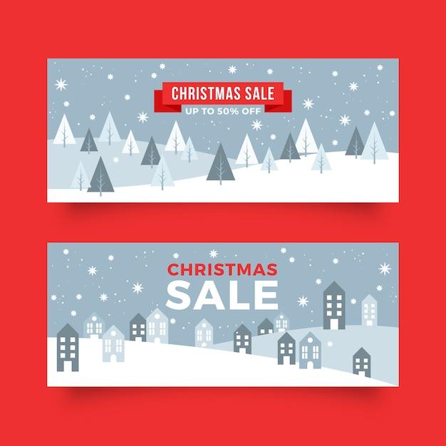 フラットなデザインのクリスマスセールのバナーテンプレート 無料ベクター