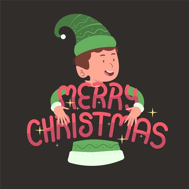レタリングとクリスマスキャラクター 無料ベクター