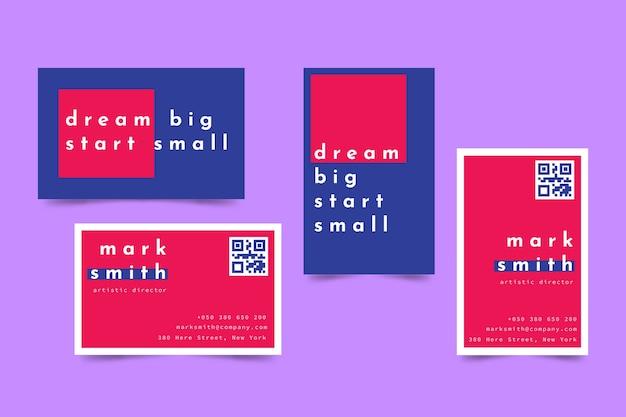 Красочный минимальный шаблон визитной карточки Бесплатные векторы