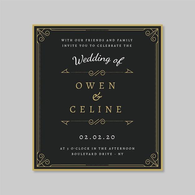 黄金の装飾品でレトロな結婚式の招待状のテンプレート 無料ベクター