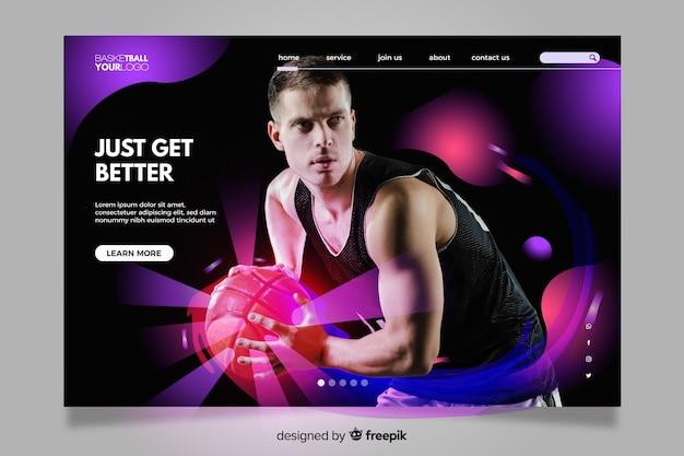 Красочная посадочная страница с фото для любителей спорта Бесплатные векторы