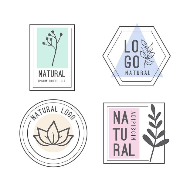 Натуральная минималистичная коллекция бизнес логотипов Бесплатные векторы