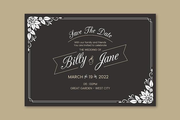 テンプレートレトロな結婚式の招待状 無料ベクター