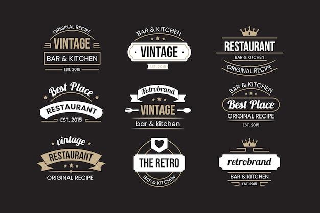 レトロなレストランのロゴを設定 無料ベクター