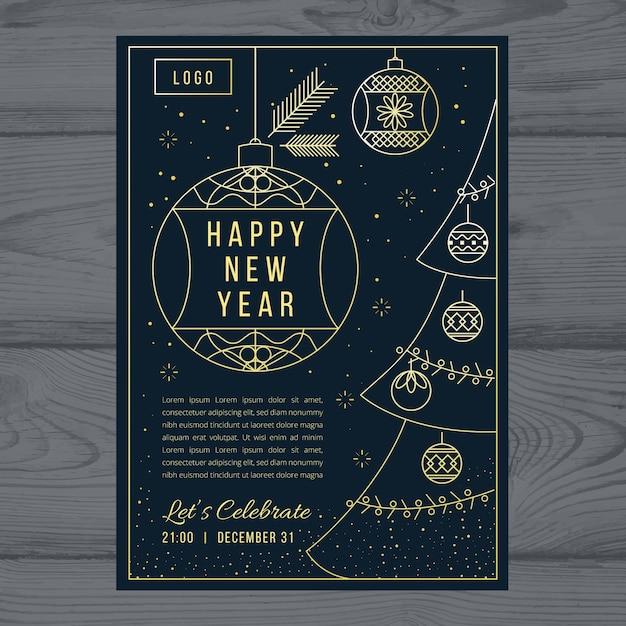 Новый год шаблон плаката в стиле структуры Бесплатные векторы