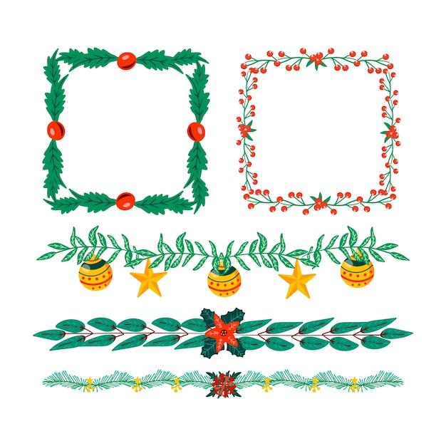 手描きのクリスマスフレームとボーダー 無料ベクター