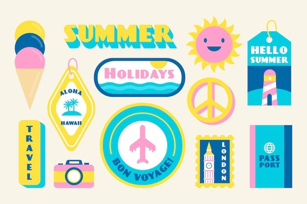 夏の休日のステッカーコレクション 無料ベクター