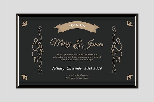黒の色調でレトロな結婚式の招待状 無料ベクター