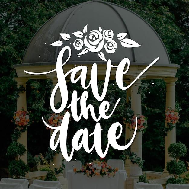 結婚式は写真で日付を保存します 無料ベクター