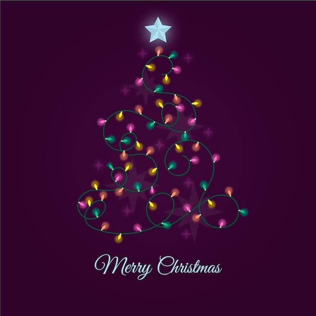 電球で作られたクリスマスツリー 無料ベクター