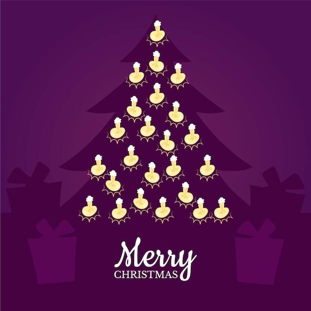 文字列ライトと木のシルエットとメリークリスマス 無料ベクター