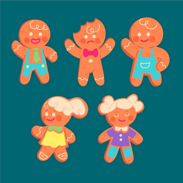 日焼けジンジャーブレッドマンクッキー 無料ベクター