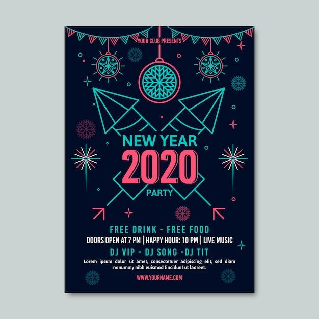 アウトラインスタイルの新年パーティーポスターテンプレート 無料ベクター