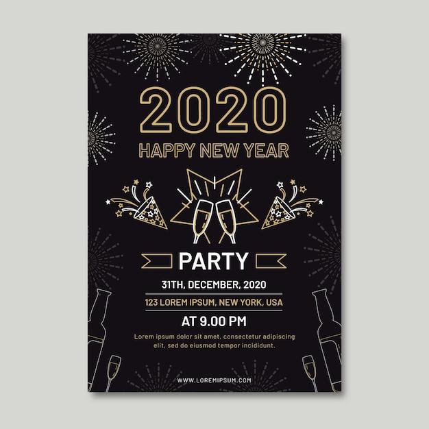 アウトラインスタイルの新年パーティーチラシテンプレート 無料ベクター