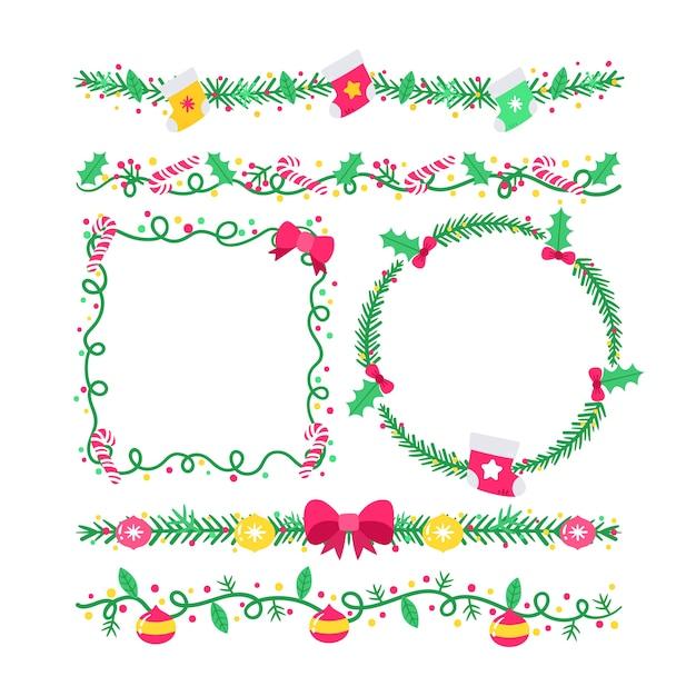 Ручной обращается рождественские рамки и границы Бесплатные векторы