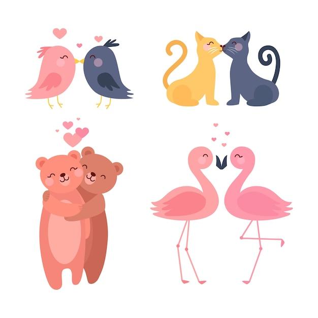 かわいいバレンタインデーの動物のカップル 無料ベクター
