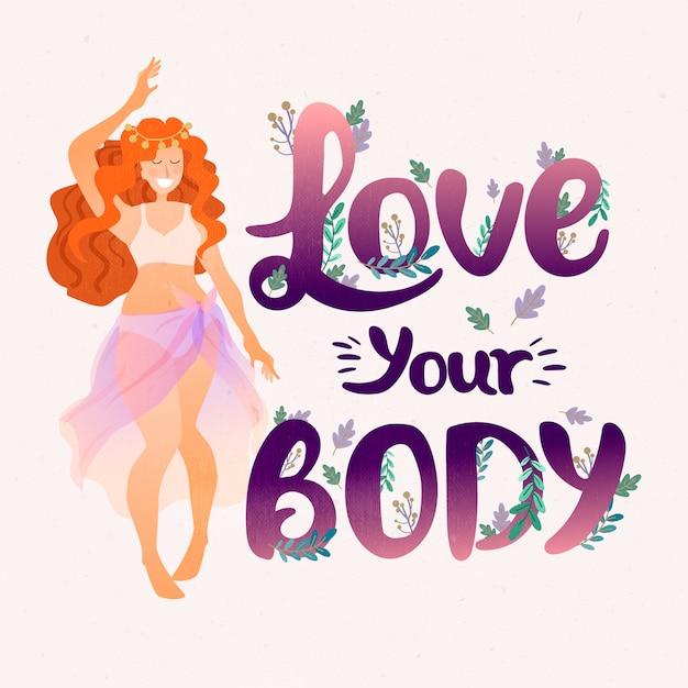Люблю свое тело женское послание Бесплатные векторы