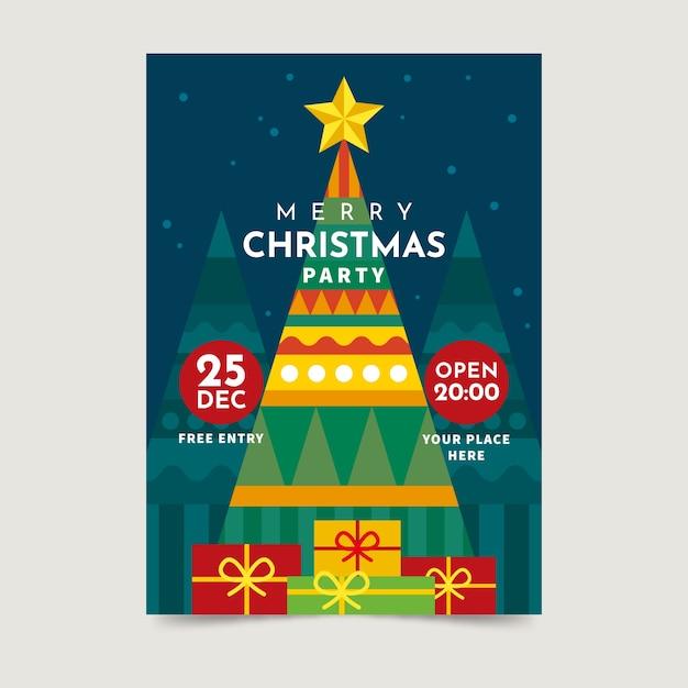 カラフルな幾何学図形をクリスマスポスターテンプレート 無料ベクター