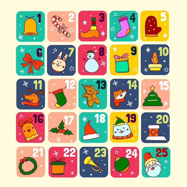 手描きお祝いアドベントカレンダー 無料ベクター