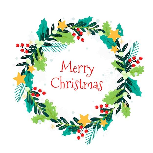 Плоский рождественский венок с орнаментом Бесплатные векторы