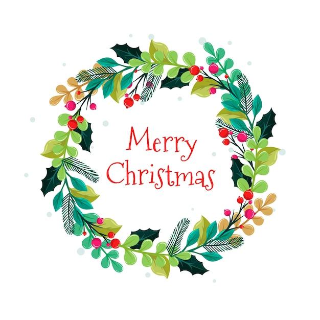 Плоский рождественский венок с приветствием Бесплатные векторы
