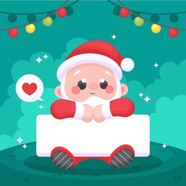 Рождественский персонаж держит пустой баннер Бесплатные векторы