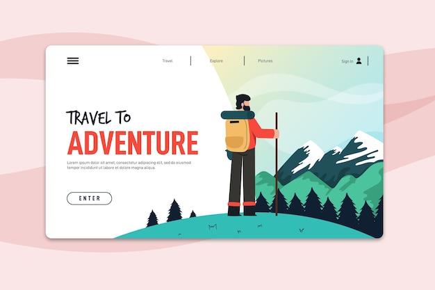 旅行のランディングページテンプレート 無料ベクター