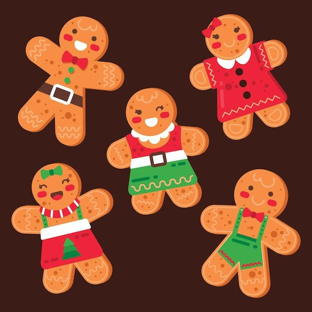 フラットなデザインのジンジャーブレッド人のクッキーコレクション 無料ベクター