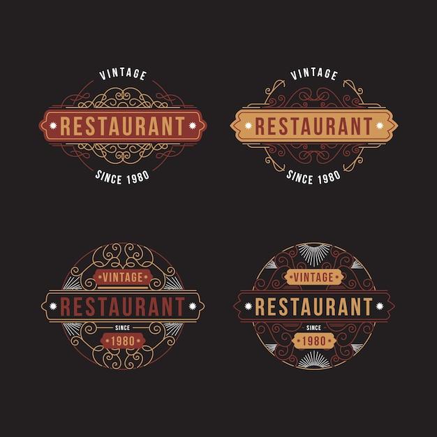 レストランレトロなロゴコレクション 無料ベクター