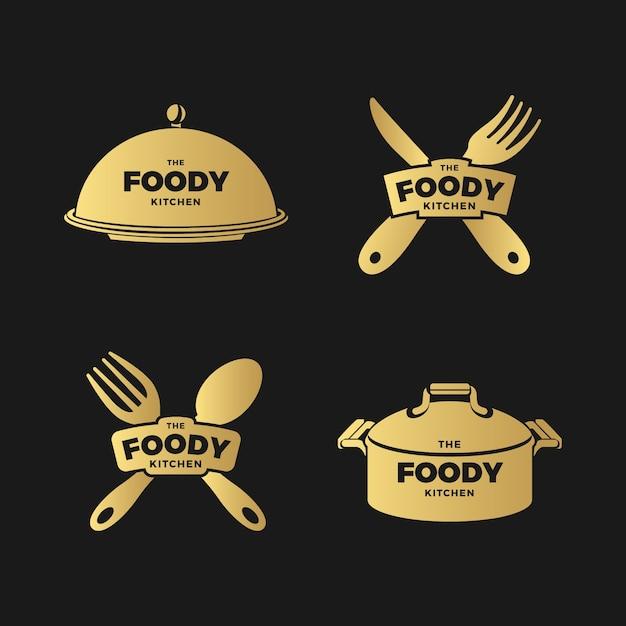 黄金のレトロなレストランのロゴのコレクション 無料ベクター