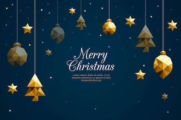 多角形スタイルのクリスマス背景 無料ベクター