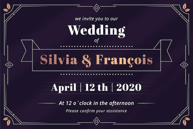 レトロな結婚式の招待状 無料ベクター
