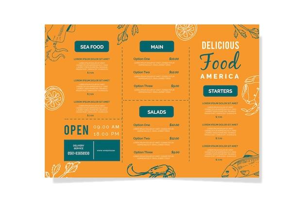 Шаблон ресторана красочное меню Бесплатные векторы