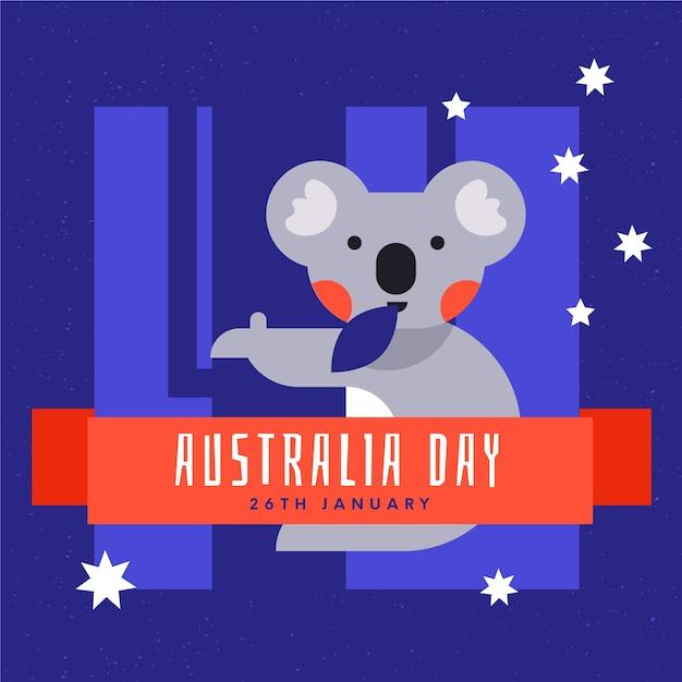 オーストラリアの日口の中の葉とかわいいコアラ 無料ベクター