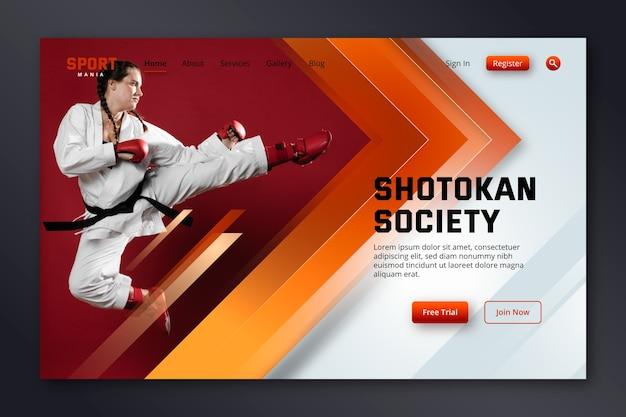 写真付きのスポーツランディングページ 無料ベクター