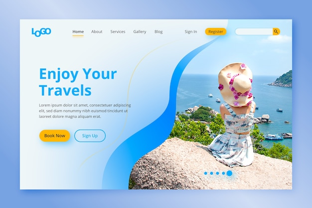 Целевая страница путешествия с фотографией Бесплатные векторы