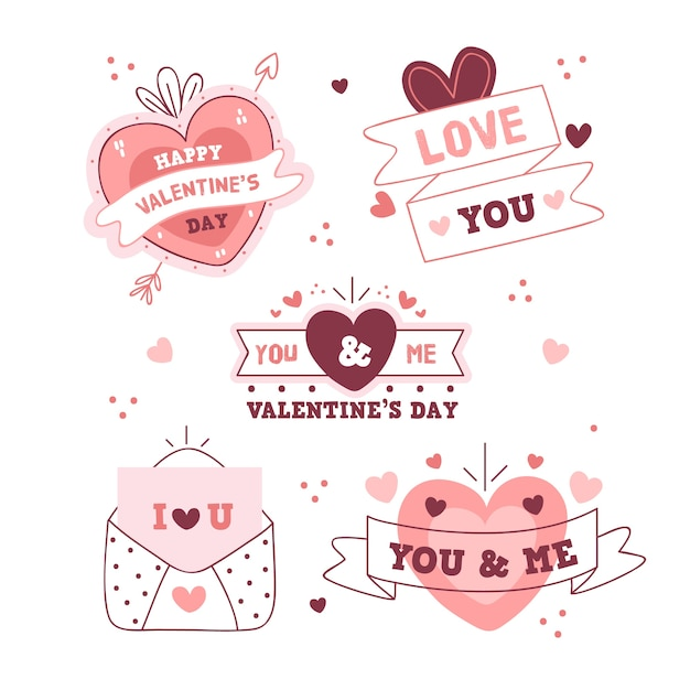 手描きのバレンタインラベルコレクション 無料ベクター