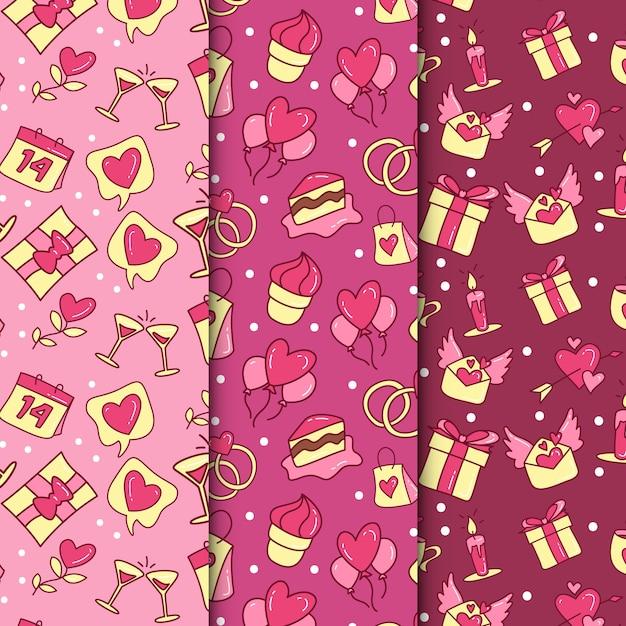 手描きのバレンタインのパターンコレクション 無料ベクター