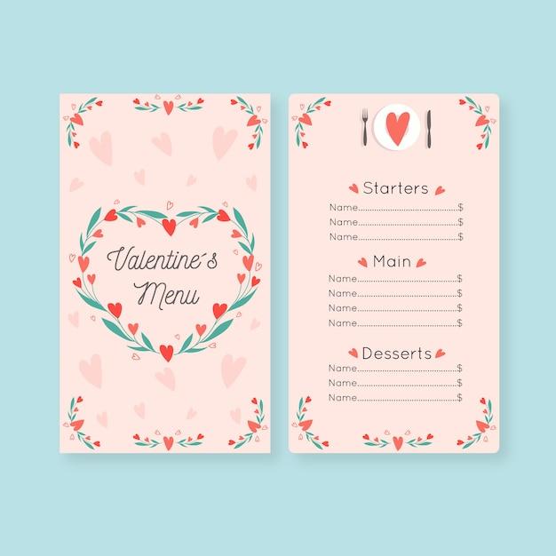 フラットなデザインのバレンタインメニューテンプレート 無料ベクター