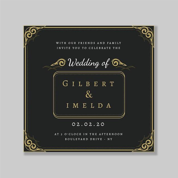 結婚式の招待状のレトロなテンプレート 無料ベクター
