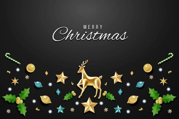 現実的な装飾とクリスマスの背景 無料ベクター