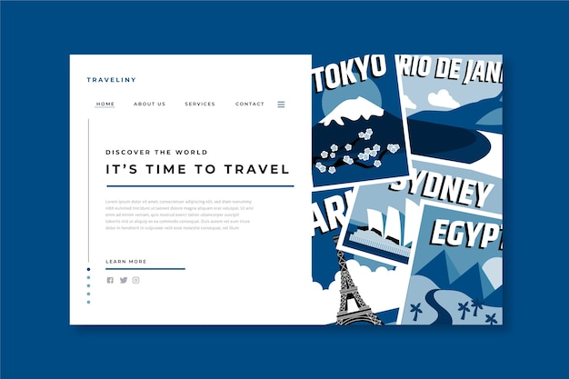 Шаблон целевой страницы путешествия на классическом синем цвете Бесплатные векторы